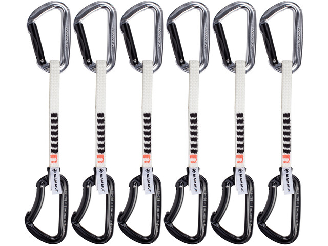 Mammut 6 Pack Nordwand Key Lock Moschettoni 15cm, straight gate/bent gate/silver/black